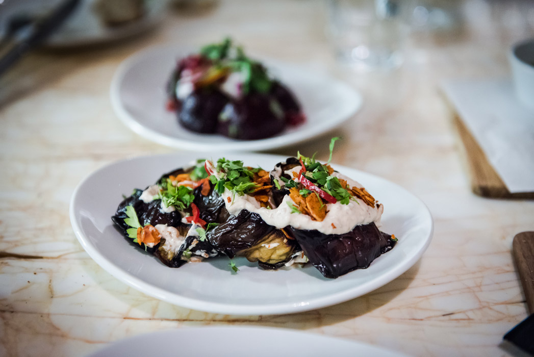 Scully's roasted Italian aubergines with paprika nuts and coriander